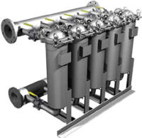 Moduline multiple bag filter housings share a common inlet and outlet manifold