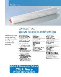 LOFPLEAT-AG Filter Cartridge Catalog Pages