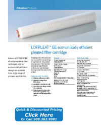 LOFPLEAT EE Filter Cartridge Catalog Pages